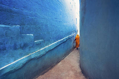 Streetshot Photograph - Blue Alleyway by Marji Lang