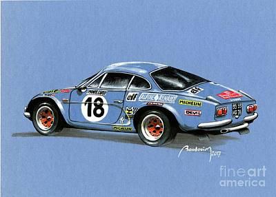 919 Painting - Blue Alpine Berlinette Monte Carlo 1973 by Alain Baudouin
