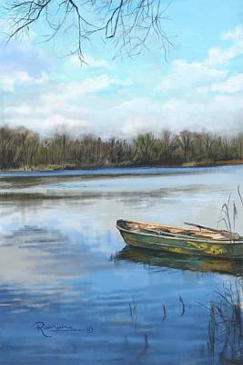 Canoe Digital Art - Blue And A Canoe by Ramona MacDonald