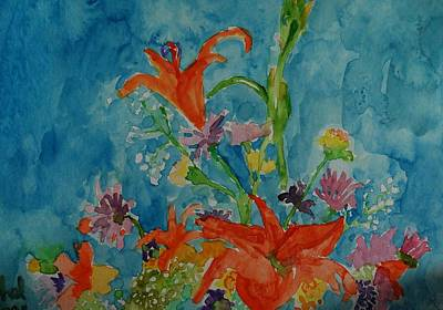 Painting - Blue And Bouquet by Rachel Rose
