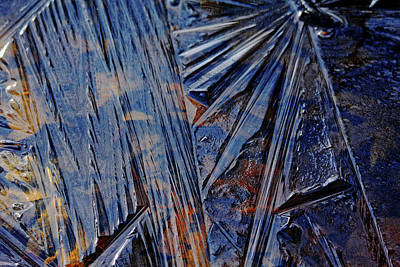 Photograph - Blue And Brown Ice Design by Debbie Oppermann