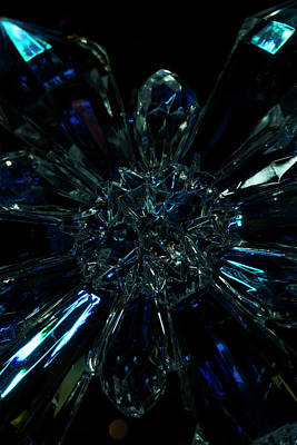 Photograph - Blue And Clear Crystal Snowflake by Liza Eckardt