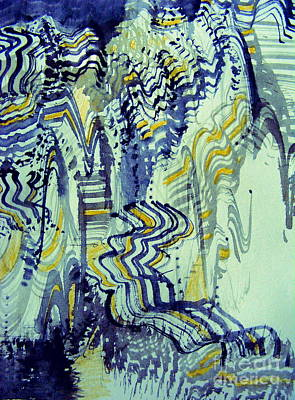 Digital Art - Blue And Gold Canyons by Nancy Kane Chapman