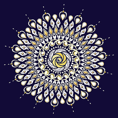 Digital Art - Blue And Gold Lens Mandala by Deborah Smith