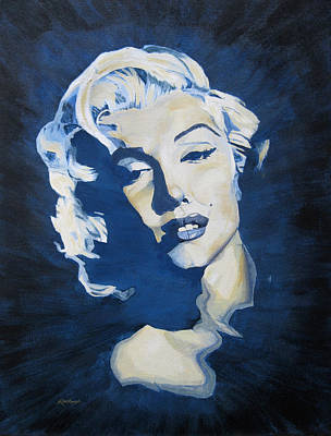 Joe Dimaggio Painting - Blue And Gold Marilyn by Michael Morgan