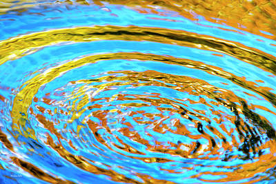Photograph - Blue And Gold Spiral Abstract by Christina Rollo