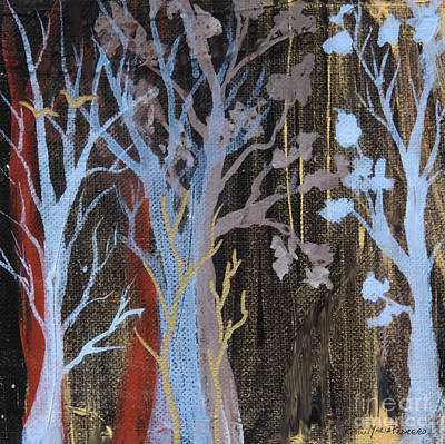 Painting - Blue And Gold Trees  by Robin Maria Pedrero