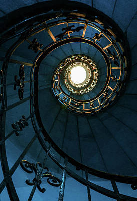 Art Print featuring the photograph Blue And Golden Spiral Staircase by Jaroslaw Blaminsky