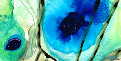 Blue Abstract Painting - Blue And Green Art - Pools - Sharon Cummings by Sharon Cummings
