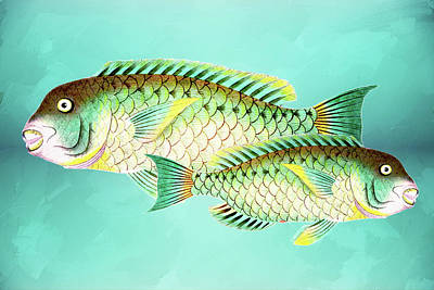 Mixed Media - Blue And Green Fish Wall Art by Georgiana Romanovna