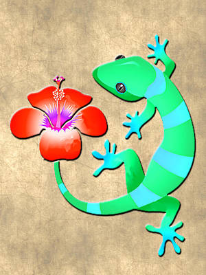 Gecko Painting - Blue And Green Jungle Lizard With Orange Hibiscus /background by Elaine Plesser
