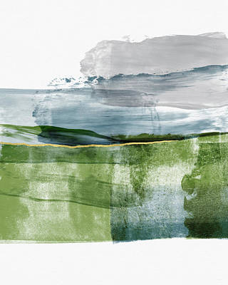 Ink Mixed Media - Blue And Green Minimalist Landscape Art By Linda Woods by Linda Woods