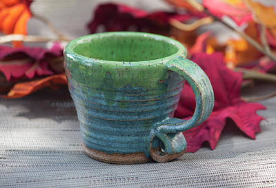 Ceramic Art - Blue And Green Mug by Suzanne Gaff
