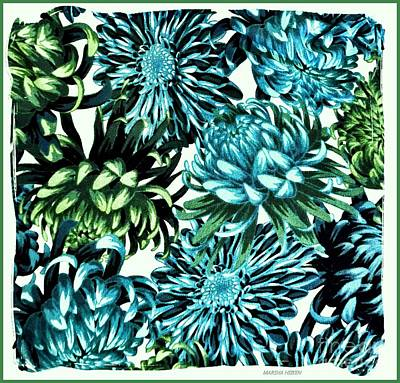 Photograph - Blue And Green Mums by Marsha Heiken