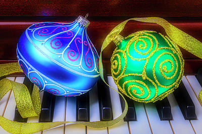 Photograph - Blue And Green Ornaments by Garry Gay