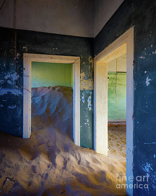 Delapidated Photograph - Blue And Green Rooms by Inge Johnsson