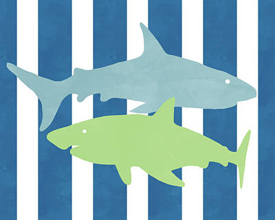 Blue And Green Sharks- Art By Linda Woods Art Print