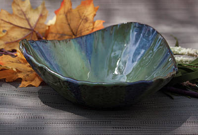 Ceramic Art - Blue And Green Triangular Decorative Bowl by Suzanne Gaff