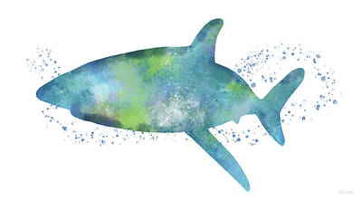 Swimming Painting -  Blue And Green Watercolor Shark 1-art By Linda Woods by Linda Woods
