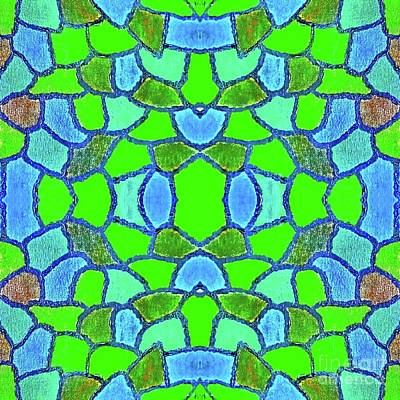 Digital Art - Blue And Green Window by Rachel Hannah