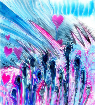 Painting - Blue And Hearts by Adria Trail