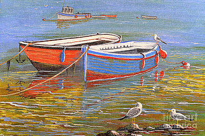 Old Boat Painting - Blue And Orange by Bill Holkham