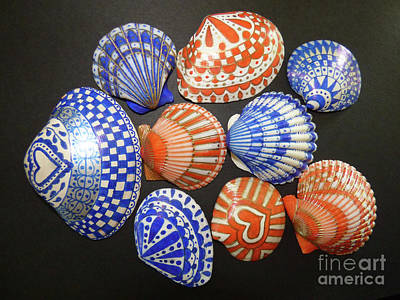 Photograph - Blue And Orange Sharpie Shells by Jean Doepkens Wright