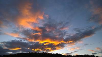Photograph - Blue And Orange Sunset Over Blue Ridge Mountains by Kelly Hazel