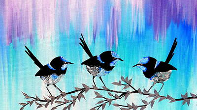 Mums Painting - Blue And Purple by Cathy Jacobs