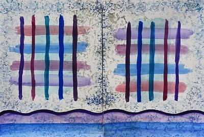 Blue And Purple Crisscross Dyptych Original