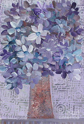 Painting - Blue And Purple Flowers In Vase by Janyce Boynton