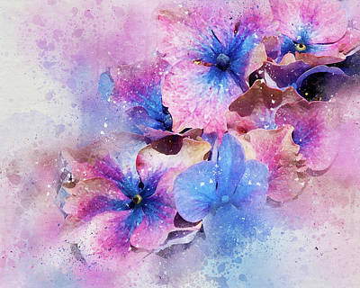 Photograph - Blue And Purple Flowers by Judi Saunders
