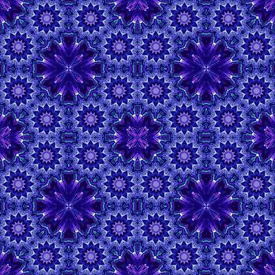 Digital Art - Blue And Purple Fractal Mandala Pattern by Ruth Moratz