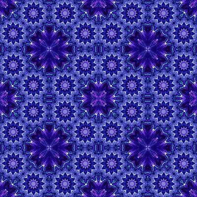 Digital Art - Blue And Purple Fractal Mandala Pattern by Ruth Moratz