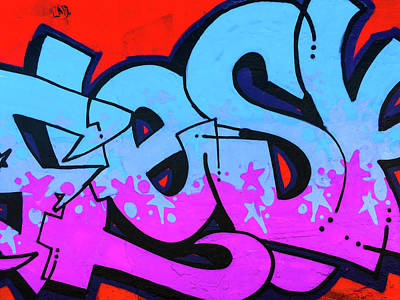 Photograph - Blue And Purple Lettering Urban Art by Steven Green