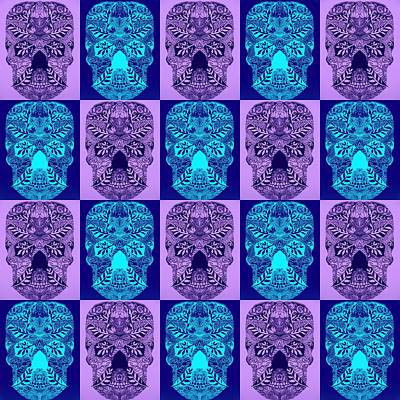 Blue And Purple Skulls Art Print by Cathy Jacobs