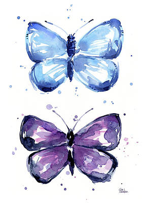 Blue And Purple Watercolor Butterflies Art Print by Olga Shvartsur