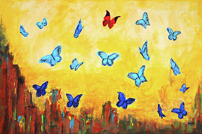 Blue And Red Butterflies Art Print