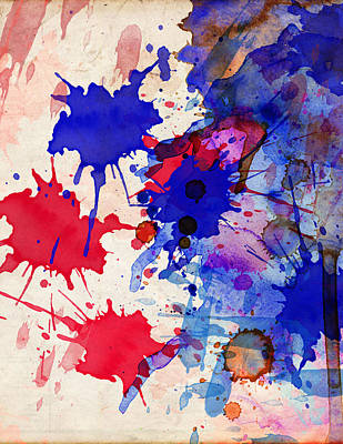 Painting - Blue And Red Color Splash by Aloke Creative Store