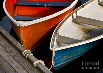 Rowboat Digital Art - Blue And Red Dinghies by Jerry Fornarotto