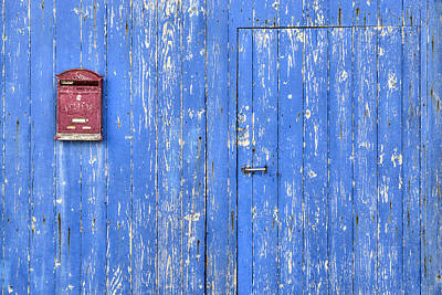 Mail Box Photograph - Blue And Red by Joana Kruse