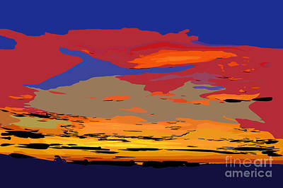 Digital Art - Blue And Red Ocean Sunset by Kirt Tisdale