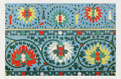 Mixed Media - Blue And Red Old Floral Patterns Wall Art Prints by Wall Art Prints