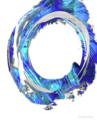 Painting - Blue And White Abstract - Swirling 1 - Sharon Cummings by Sharon Cummings
