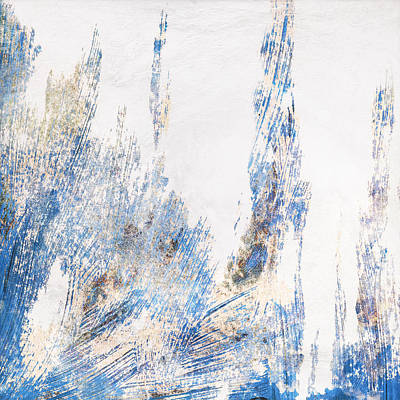 Ice Crystal Painting - Blue And White Art - Ice Castles - Sharon Cummings by Sharon Cummings