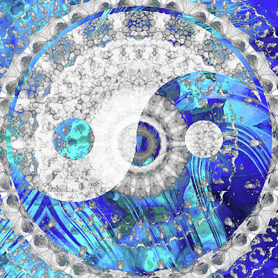 Painting - Blue And White Art - Yin And Yang Symbol - Sharon Cummings by Sharon Cummings