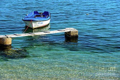 Photograph - Blue And White Boat In Kastela, Split, Croatia by Global Light Photography - Nicole Leffer