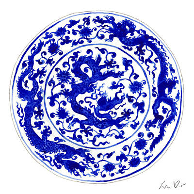 Japanese Ceramics Painting - Blue And White Chinese Chinoiserie Plate 1 by Laura Row