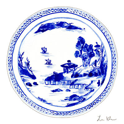 Chinese Calligraphy Painting - Blue And White Chinese Chinoiserie Plate 2 by Laura Row