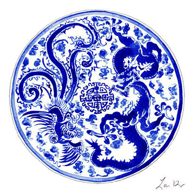 Chinese Calligraphy Painting - Blue And White Chinese Chinoiserie Plate 3 by Laura Row